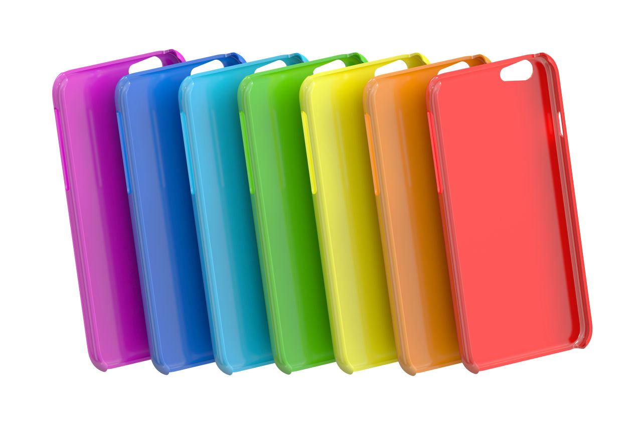 Multicolor Mobile Phone plastic cases. 3D rendering