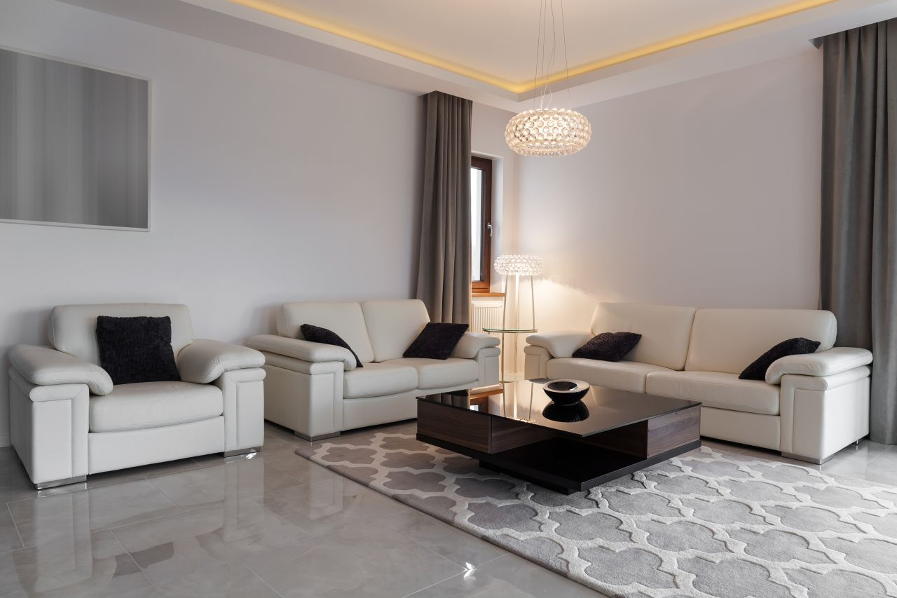 Leather furniture in elegant lounge
